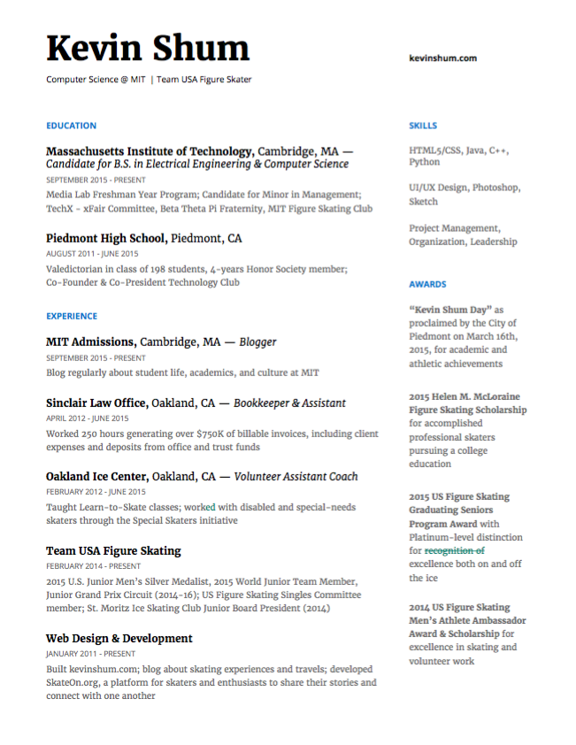 halfway through the semester i set up an appointment at the gecd office for a rsum critique shoutout to lily zhang and below was the result - Computer Science Resume Mit